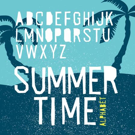 beach sunset: Summer time vector alphabet. Hand drawn letters. Summer beach party poster