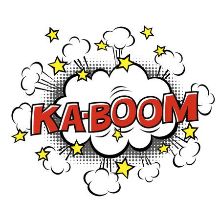 Ka-Boom! phrase in speech bubble. Comic text. Vector bubble icon speech phrase. Comics book balloon. Halftone background.