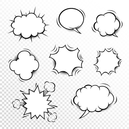 Comic speech bubbles set with different shapes and elements. Vector cartoon illustrations isolated on white background. Halftones, stars and other elements in separated layers. Black anbd white.