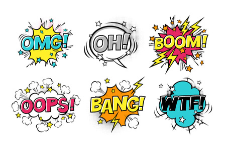 Comic speech bubbles set with different emotions and text BOOM, OMG, OH, BANG, OOPS, WTF. Vector cartoon illustrations isolated on white background. Halftones, stars and other elements in separated layers.