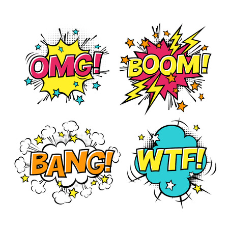 Comic speech bubbles set with different emotions and text BOOM, OMG, BANG, WTF. Vector cartoon illustrations isolated on white background. Halftones, stars and other elements in separated layers.
