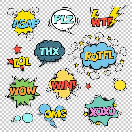 Thx, CUANTO ANTES, PLZ, WTF, LOL, ROTFL, WOW, GANAN, OMG, XOXO. Comic burbujas de discurso conjunto. Medios tonos, estrellas y otros elementos en capas separadas. Diseño colorido en fondo transparente. Foto de archivo - 83109182