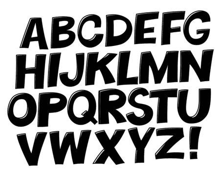 Comic black and white alphabet.  Vector set. Comic text. Comics book font.