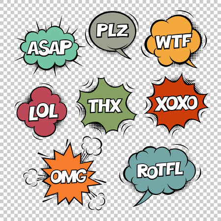 Most common used internet acronyms on comics style colorful speech bubbles. On transparent background