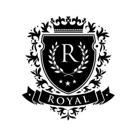 Koninklijk. Heraldisch embleemschild met kroon en lauwerkrans. Wapenschild Vintage merk Crest heraldisch embleem Shield. Vector illustratie