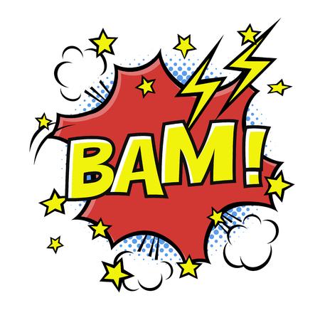 BAM! phrase in speech bubble. Comic text. bubble icon speech phrase. Comics book balloon. Halftone background.
