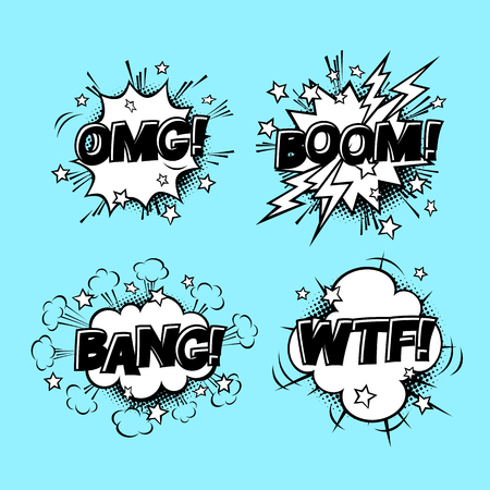 Comic speech sound bubbles set with different emotions and text BOOM, OMG, BANG, WTF. cartoon illustrations isolated on blue background. Halftones, stars and other elements in separated layers.