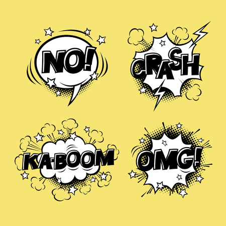 Comic speech bubbles set with different emotions and text KA-BOOM, OMG, NO, CRASH. cartoon illustrations isolated on yellow background. Halftones, stars and other elements in separated layers.