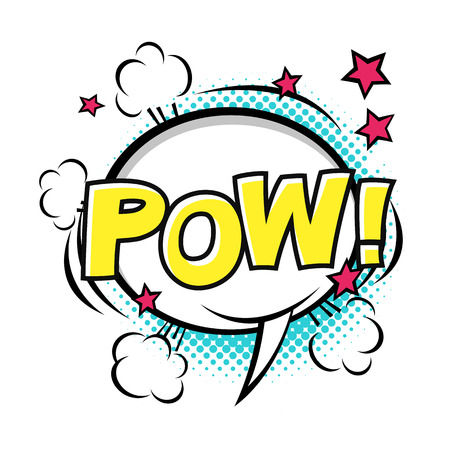 POW! Comic speech bubble, comic sound. Vector cartoon illustrations isolated on white background. Halftones, stars and other elements in separated layers.