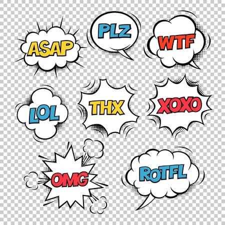 La plupart des acronymes d'Internet utilisés sur le style de bande dessinée sont des bulles de discours colorées. Sur un fond transparent