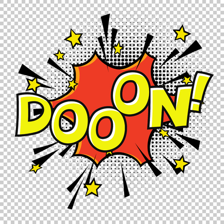 Doon! Doo-o-n! Halftone circle on transparent background. Vector bubble icon speech phrase. Comics book balloon. Halftone background.
