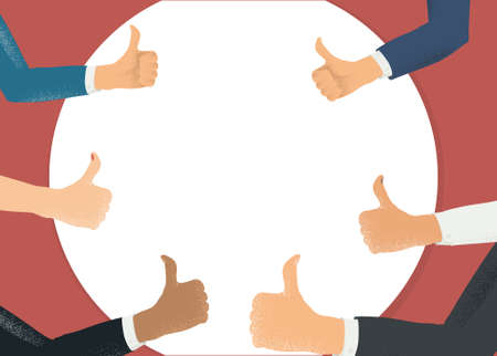 Blank copyspace surrounded by thumbs up gesturing hands. Social approval, positive feedback and acceptance success template. Flat style colorful vector illustration