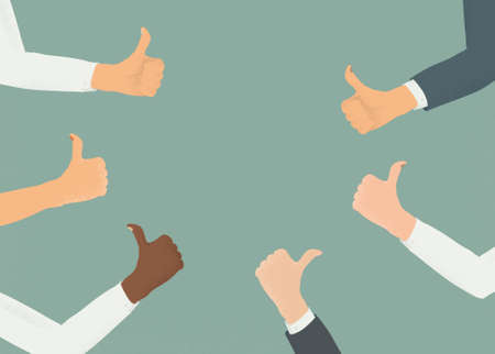 Blank copyspace surrounded by hands with thumbs up. Concept of public approval, acknowledgment, recognition, acceptance and appreciation. Business or social media template.