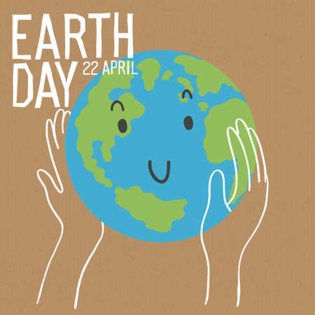 Happy earth day poster. Save the earth concept poster. The hand gently holds the earth. Earth is a funny character. Vector illustration 向量圖像