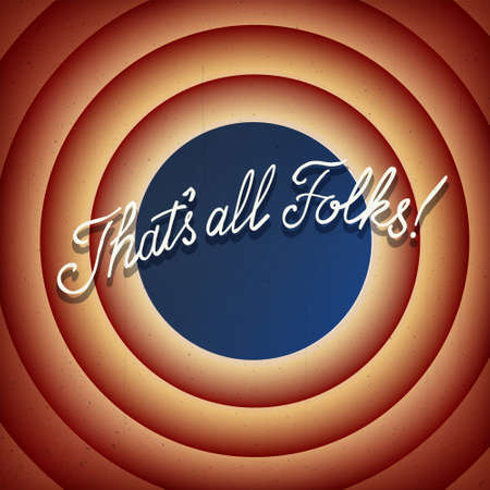 That's all Folks. Vintage Movie ending screen background. The end vector illustration.