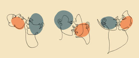 Three abstract modern portraits of couple. Continuous line, drawing of couple, man and woman. Vector illustration.