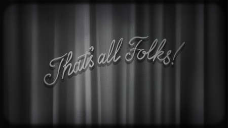 Black noir screen with curtains and typography That's all folks! Vintage retro scene with lettering like in old time hollywood movies
