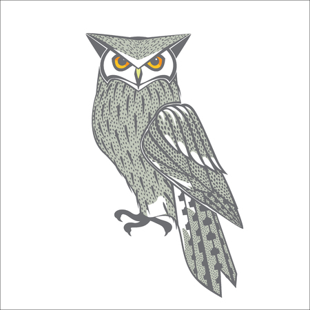grey owl with orange eyes vector illustration isolated on white background.