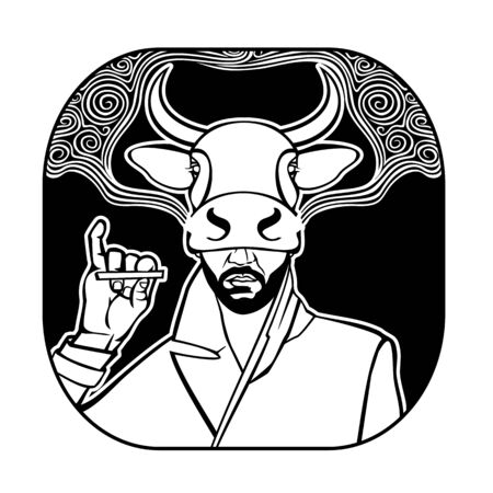Man Smoking a cigarette in the mask of a cow vector illustration