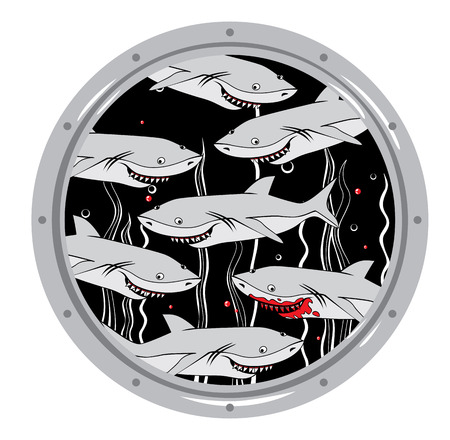 Group of sharks in the window  Vector illustration. Stock Illustratie