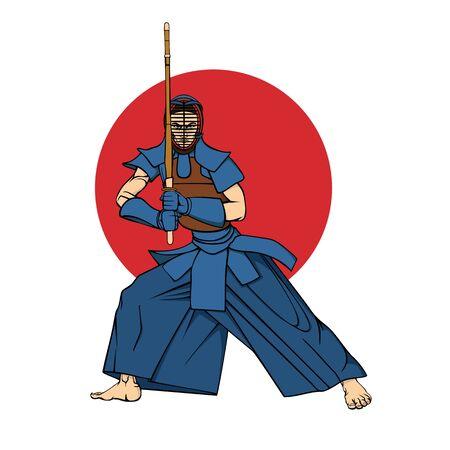 Kendo fighter man with shinai cartoon vector Illustration