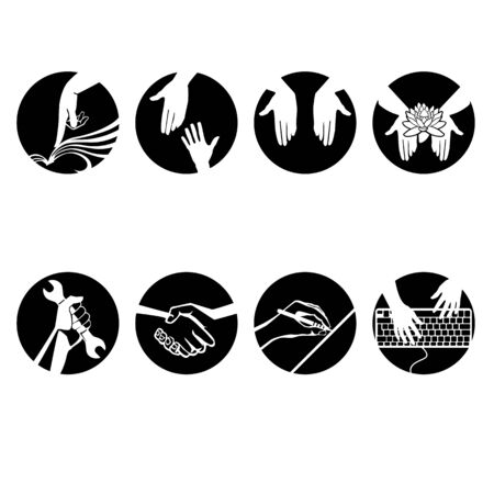 Pointers from hand gestures icon vector illustration. Çizim