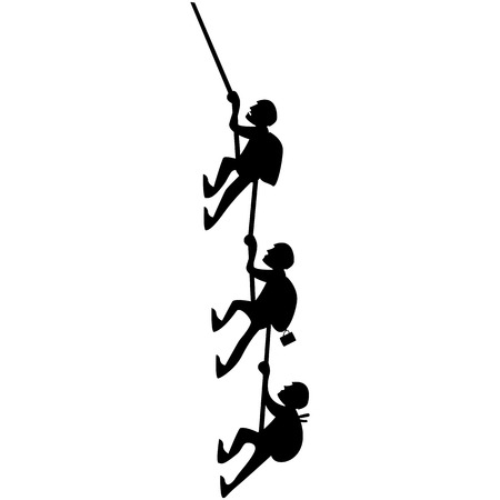 Vector image of three silhouettes of climbers on white background Stock Photo