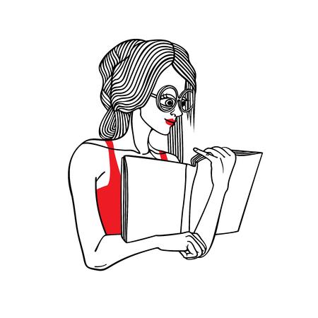 Vector portrait of girl reading book.