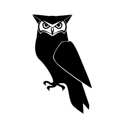 Icon owl. Flat sign owl. Isolated black logo owl on white background. Vector Illustration 일러스트
