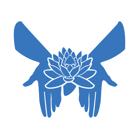 The Lotus flower in the open palm Illustration