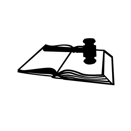 Symbolic image of the hammer judges and books laws