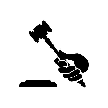 Symbolic image of a hand with a judges hammer Illustration