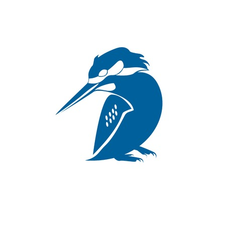Conditional vector isolated image of a seated Kingfisher