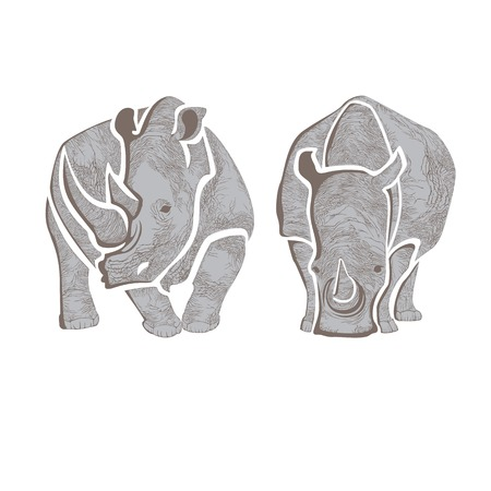 Graphic vector image of two gray rhinos 向量圖像