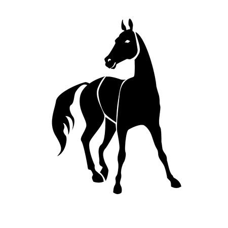 Image vectorielle isolée monochrome, stylisée du cheval Vecteurs