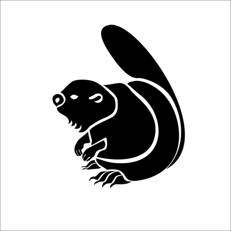 Stylized vector monochrome isolated image of a river beaver