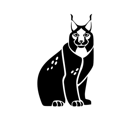 Stylized monochrome vector isolated image of the lynx 일러스트