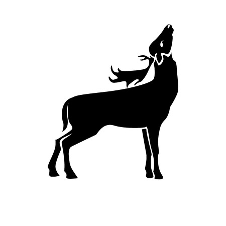 Deer vector image, stylized monochrome isolated image on white background