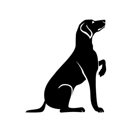 Vector black silhouette of a dog isolated on a white background. Illustration