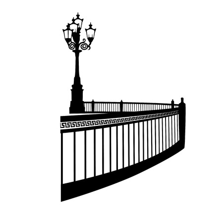 Vector silhouette image of a street lamp with a decorative grille