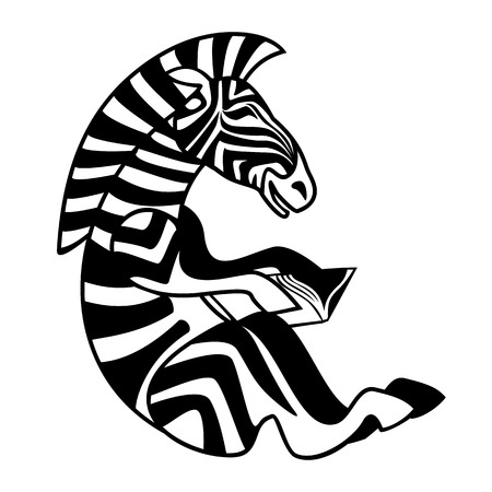 Vector isolated image of a Zebra sitting with a book