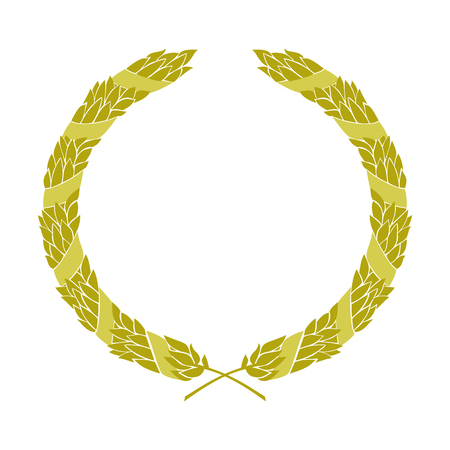Golden heraldic wreath entwined with ribbon, vector isolated image