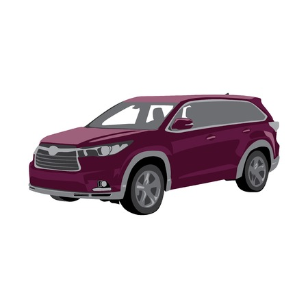 Burgundy modern car, vector isolated three-dimensional image