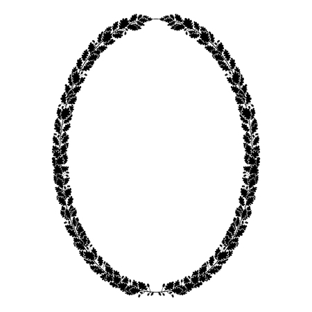 Oval heraldic wreath of oak branches, black and white isolated image.
