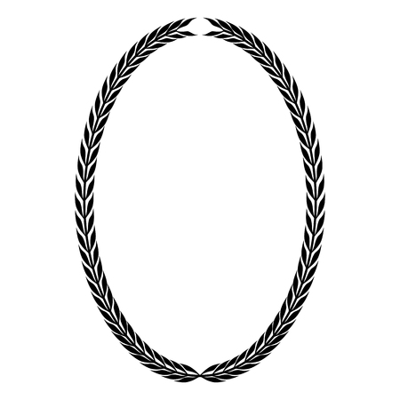 Oval heraldic wreath of leaves, monochrome isolated image.