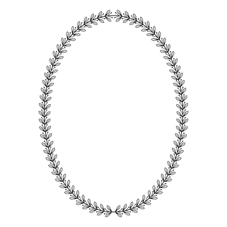 Oval heraldic wreath of laurel branches, monochrome contour isolated image.