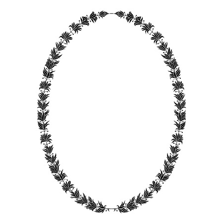 Oval heraldic wreath of olive leaves, monochrome isolated image.
