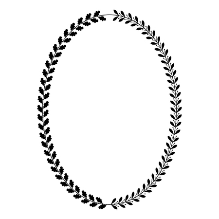 Oval heraldic wreath of oak and laurel leaves, vector monochrome isolated image.