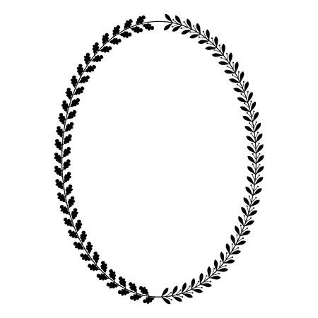 Oval heraldic wreath of oak and laurel leaves