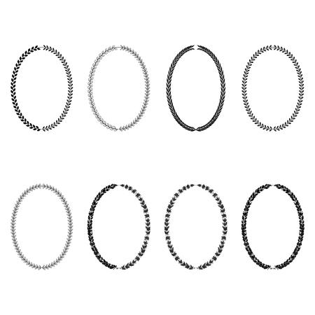 Set di corone araldiche ovali vettoriali di rami di ulivo, alloro e quercia, immagine isolata monocromatica